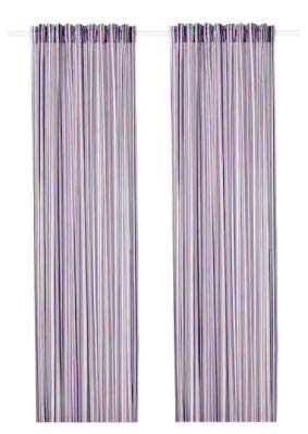 Ikea PRAKTKLOCKA Curtains, 1 Pair, Lilac/Striped, 57x98 (145x250 cm)