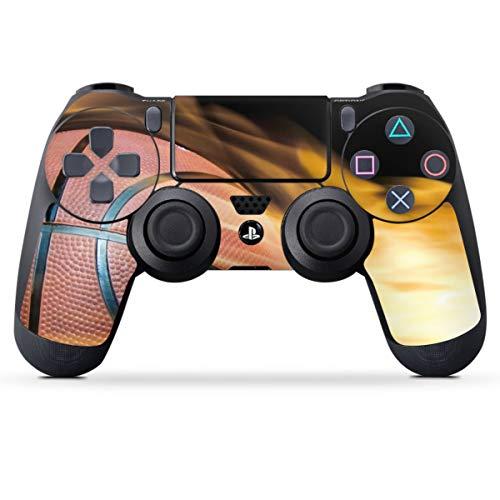 DeinDesign Skin kompatibel mit Sony Playstation 4 PS4 Controller Folie Sticker Basketball Feuer