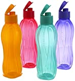 Tupperware 500Ml Fliptop Water Bottles, Set of 4, New Multi Colours