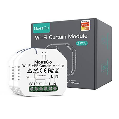 MoesGo Wlan RF433 Alexa Mini Smart Rolladenschalter Modul, WiFi Funk Rolladen Jalousien Zeitschaltuhr Schalter für Rollladenmotor, Kompatibel mit Alexa Google Assistant Smart Life Tuya App 2 PCS
