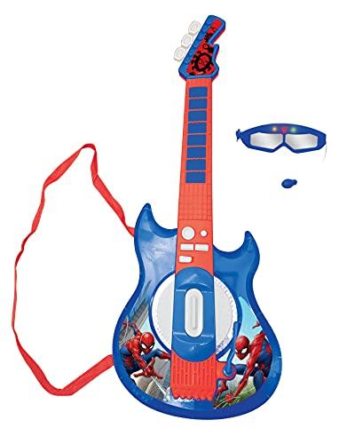 LEXIBOOK- Marvel Spider-Man Guitarra electrónica Luminosa, Gafas con micrófono, melodías Incluidas, Enchufe para MP3, Azul/Rojo