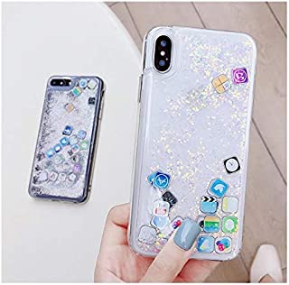 iPhone Xs Max Icon Liquid Glitter Case, Hard Back Colorful Bling, Transparent Cute, Lovely, Fun and Shine Phone Case (Silver)