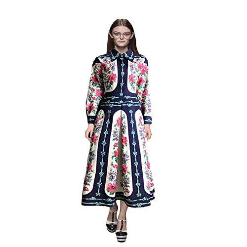 TUWEN Damen Revers Langarm Retro Gericht Wind Urlaub Reisekleid Kleid