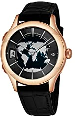 Polished 18k rose gold case (41 mm in diameter, 13 mm thick), Sapphire crystal snap-down case-back Champleve black enamel dial with world map design, White painted 18k white gold hands and indexes, Hours can be easily adjusted by the top and bottom p...