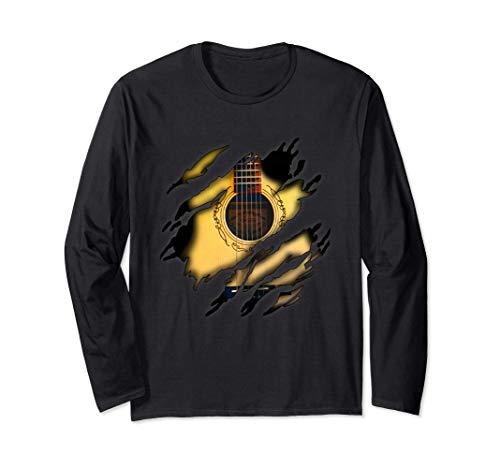 Akustikgitarre in mir Design, Gitarre Langarmshirt