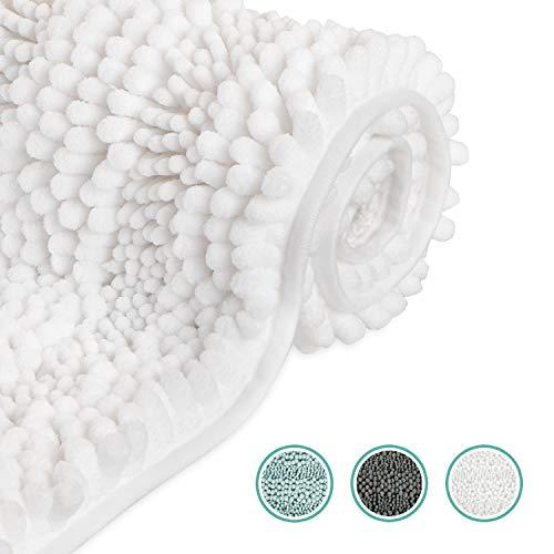 WELTRXE Badematte, Badteppich aus Chenille Weich und Wasserabsorbierend, 51 × 81 cm Badevorleger und Teppich für Badezimmer, Flauschiger Badezimmerteppich in weiß für Kinder und Familie
