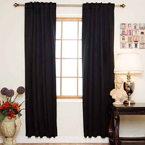 Black Rod Pocket Energy Saving Thermal Insulated Blackout Curtain 108 Inch Length Pair