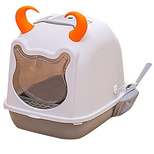Scatola di Lettiera del Gatto del Gatto Completamente Recintato in PP, Deodorante Incorporato, WC del Gatto della Grande Spruzzata (Colore: Grigio; Dimensioni: 45,5 * 36 * 43 Cm)
