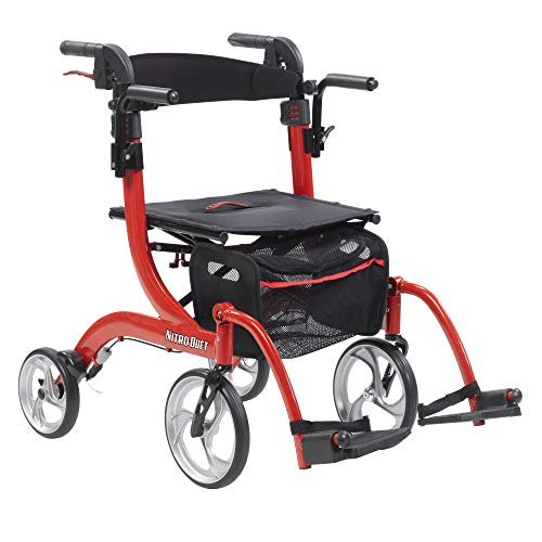 Drive Nitro Duet Dual Function Transport Wheelchair and Rollator Rolling Walker - Red, Model - RTL10266DT & Free 130 dB Personal Safety Black Alarm!