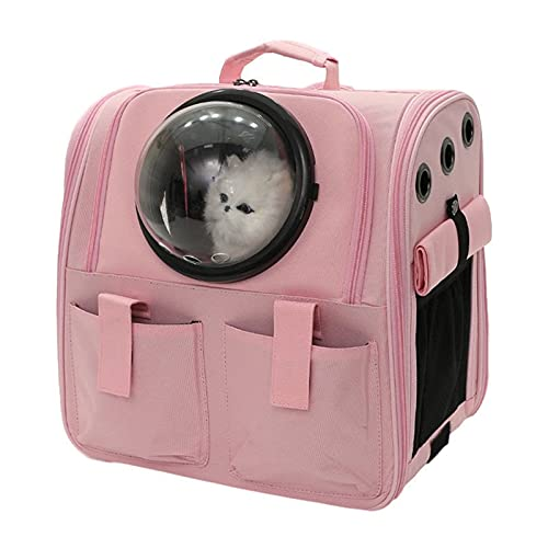 MIAE Transport Box Cat Large, Breathable Pet Space Transparent Window Backpack, Dog Backpack Up To 18 Kg Hiking, Storage Bag with Side Roller Shutter,Pink