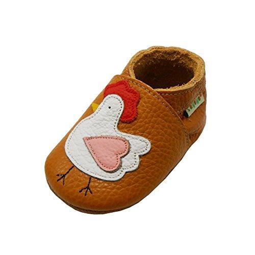 SAYOYO Chaussures Bébé Cuir Souple Premiers Pas Respirant Chaussons Orange pour Bébé Fille 12-18 Mois