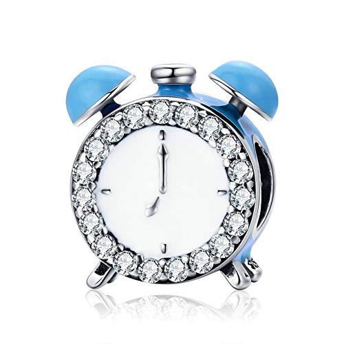 GaLon Encantos Mujeres S925 Granos de la Plata pequeña Alarma Elementos de la Vida del Reloj de Bricolaje Colgante Hecho a Mano Compatible con Pandora y Pulseras Europeas Collares