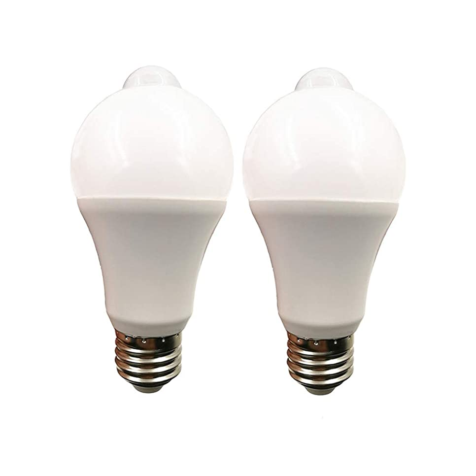 振り向くファーム昆虫LED電球 広配光タイプ 人感センサー付き 明暗センサー 室内センサーライトト 自動点灯/消灯 センサーライト E26口金 led センサー 60W形相当 (電球色7W-2個セット)