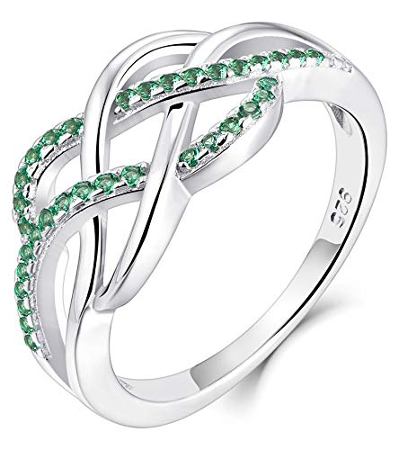 YL Celtic Knot Rings 925 Sterling Silver Twisted Knot Ring 18k White Gold Plated Created Emerald Infinity Statement Rings-size6