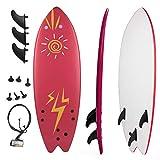 Grande Juguete Surfboard 5'5', Soft Top Surf Board, Lightweight Surfing Foamie Board Tri Ocean Beach Boards Great for Kids, Adults and Children (Red)