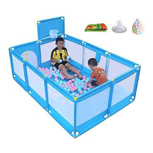 QULONG Colchón Azul con Pelotas Parque para bebés con aro de Baloncesto Centro de guardería para niños pequeños Regalos del día de la Madre para mamá y bebé