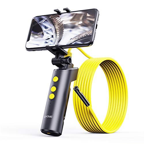 ILIHOME Wifi Dual-Kameras Endoskopkamera, Doppelkamera Dual Lens Endoskop, 8+1 Einstellbaren LED-Licht Inspektionskamera, 5 Meter Kabel Rohrkamera, 3500mAh Akku, Handheld-Design mit Handyhalter