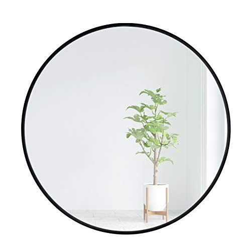 EMAISON Black Metal Frame Mirror, 30 inch Round Modern Decorative Wall Mounted -