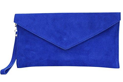 AMBRA Moda Damen Wildleder Envelope Clutch Abendtasche Partytasche Handschlaufe Suede Handgelenktasche Schultertasche Umhaengtasche Unterarmtasche Damentasche Veloursleder WL801 (Royalblau)