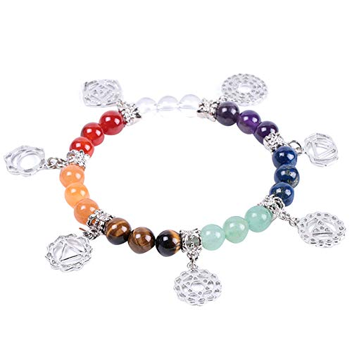 Zidao Pulsera de Piedra Natural de la joyería 7 Chakra Símbolo Colgante Brazalete Equilibrio Yoga Reiki Terapia Pulsera