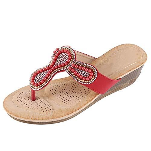 NOLOGO Las Mujeres De Moda De Verano De Boho con Cuentas De Perlas Planas Sandalias De Los Zapatos Zapatillas de Playa Antideslizantes (Color : Red, Size : 41)