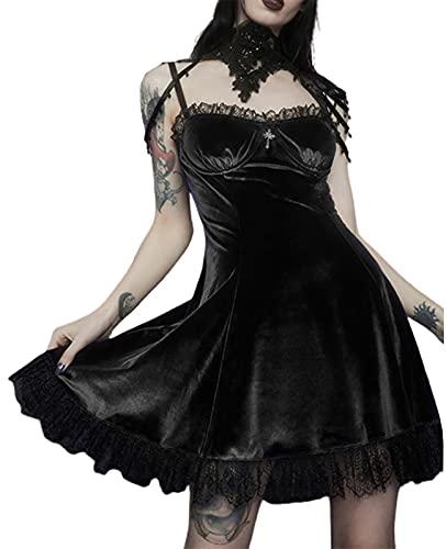 SKZZVI Kleid Damen Rüschen Samt Gothic Lolita V-Ausschnitt Punk Kleid Schleife mit Spitzenbesatz Ärmellos Spaghetti-Träger Kleid Sexy Low Cut Kleid (Schwarz, S)