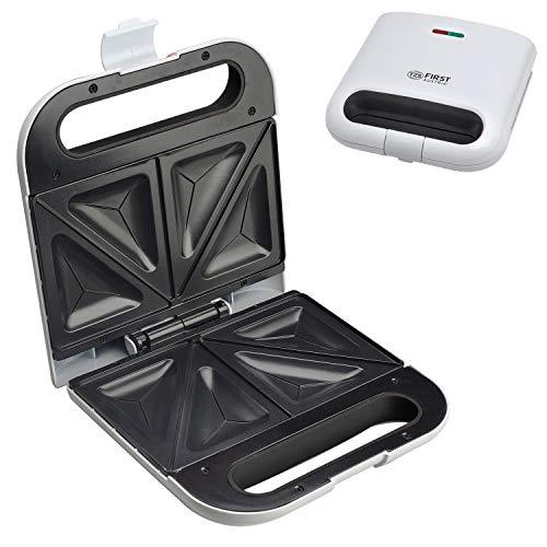 TZS First Austria - Sandwichtoaster für Standard-Toast-Scheiben, elektrischer Sandwichmaker, 700 Watt, Tischgrill, Backampel, Antihaftbeschichtung, weiß