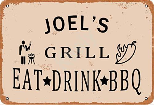 Keely Joel'S Grill Eat Drink BBQ Metall Vintage Zinn Zeichen Wanddekoration 12x8 Zoll für Cafe Bars Restaurants Pubs Man Cave Dekorativ