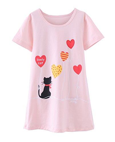 ABClothing Mädchen Nachthemden Baumwolle Nachtwäsche für Kleinkind 9-10 Jahre rosa Katze schöne Katze