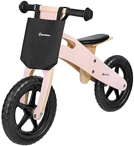 HyperMotion Bici in legno per bambini dai 2,5 anni in su, con sedile regolabile, per imparare a camminare, in legno, leggero 2,2 kg, ruote da 12', fino a 35 kg, rosa