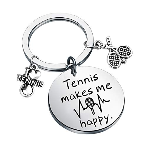 Tennis mi fa felice portachiavi tennis gioielli regalo per gli amanti del tennis regali per i giocatori di tennis, allenatori, squadre di tennis e Acciaio inossidabile, colore: Argento, cod. NA