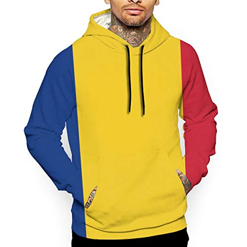 Eamibay Flag of Romania Men's Pullover Sweatshirt Hoodies Drawstring Pullover Hoodies Sweater with Pocket XXL
