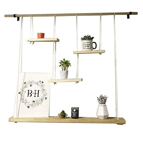 TYJXFJ massief houten wandplank met hennep touw planken voor bar woonkamer | LOFT muur opknoping kubus plank voor slaapkamer als boekenplank opslag Display Rack (Maat: 95 * 20cm) plank opslag JYT