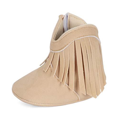 ESTAMICO Baby Girls' Cowboy Tassel Boots Beige US 12-18 Months