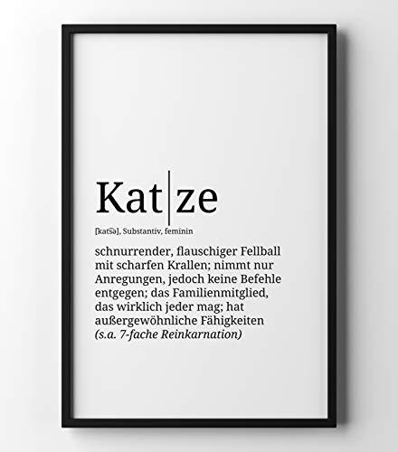 Papierschmiede Definition: Katze | DIN A4 | Poster mit Worterklärungen wie im Duden für Deine Wanddeko | Kunstdruck für den Bilderrahmen