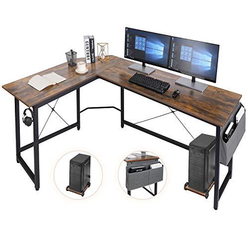 AuAg L-förmiger Schreibtisch,167cm L-Form Computertisch mit Aufbewahrungstasche und Haken, Eckschreibtisch Stabiler PC Laptop-Tisch, Größerer Workstation Gaming-Schreibtisch (Braun)