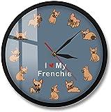 Reloj de pared Relojes de pared I Love My Frenchie Puppy Dog Reloj de pared impreso Raza de perro Bu...