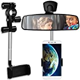 360° Rearview Mirror Phone Holder, Universal Car Phone Holder Mount Car Rearview Mirror Mount Phone and GPS Holder, Car Phone Mount Clip Suitable for Most 4-6.1 Inch Mobile Phones (Black)
