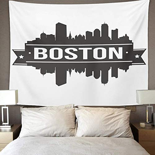 Amazon Com Emvency Tapestry Massachusetts Boston Skyline Silhouette Architecture Beautiful Big Black Home Decor Wall Hanging For Living Room Bedroom Dorm 50x60 Inches Home Kitchen