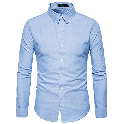 Men's Shirt Long Sleeve Solid Color Shirt Suit Business Wedding Banquet Kent Collar Shirt Spring and Autumn Casual Boutique All-Match Shirt .Blue M