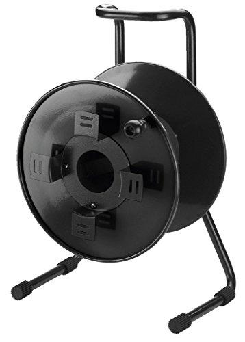 MONACOR MCR-6 professionelle Leer-Trommel in einer robusten, bühnentauglichen Ausführung für Kabel bis 100 m, leere Kabel-Trommel aus Metall mit Stahlrohrgestell, in Schwarz, 25.1910