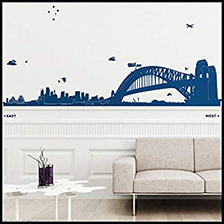 AmericanVinyl Wall Decals Sticker Sydney Wall Decal : Huge Sydney Skyline (Opera Harbour Bridge Circular Q) Australia with Rocks Towers Trees and Stars