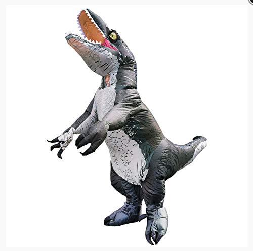 WSSMSY Disfraz Inflable de Dinosaurio Velociraptor Adulto 160-190Cm, Disfraz de Fiesta Cosplay Disfraces de Halloween para Hombre Mujer Vestido Elegante