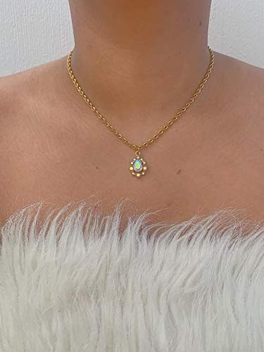 Vintage Style Gold Stainless Steel Rope AB Crystal Teadrop Pendant Chain Necklace