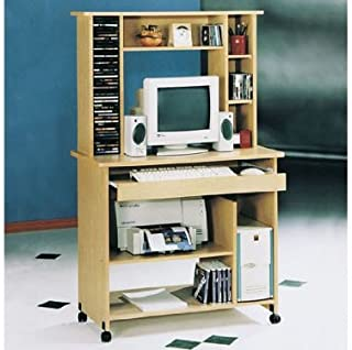 acme Home Office Computer Desk with Hutch Natural Finish