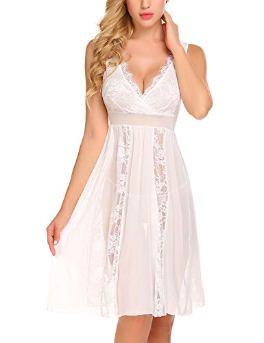 Avidlove Babydoll Lingerie for Women Sexy Lace Chemise Nightgowns Sheer Bridal Nighty White, XL