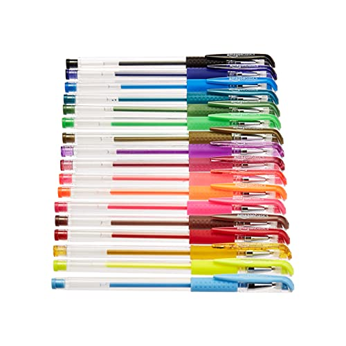 Amazon Basics – Juego de bolígrafos de gel multicolor, prémium, con base giratoria para dibujo, 100 unidades