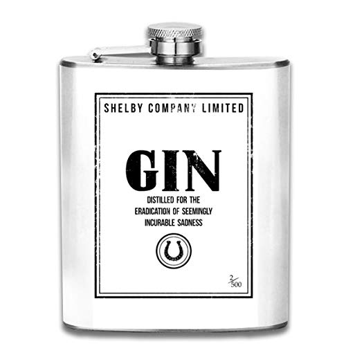 Shelby Company Limited Flachmann mit Gin Label Peaky Blinders bedruckt, tragbar, Edelstahl, ca. 200 ml