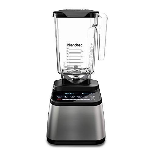 Blendtec Jar (90 oz) -Professional-Grade Power-Self-Cleaning 6 Pre-Programmed Cycles-100-Speeds-Sleek and Slim, Stainless Steel, Black