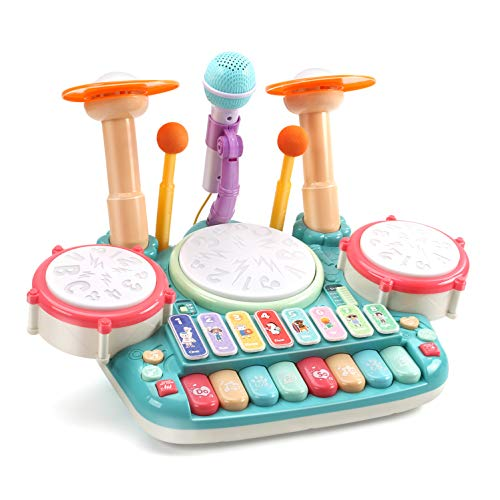 CUTE STONE 5 in 1 Musical Instruments Toys,Kids Electronic Piano Keyboard Xylophone Drum Toys Set with Light, 2 Microphone, Learning Toys Eduactional Gift for Baby Infant Toddler Girls Boys